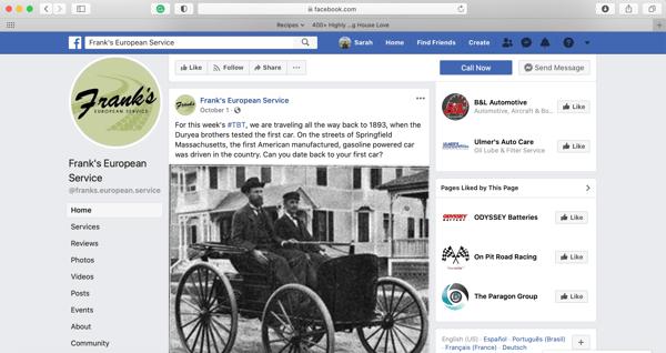 Frank's European Service Facebook